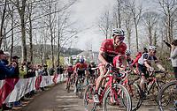 Gregory Rast (SUI/Trek-Segafredo) up the Baneberg<br /> <br /> 79th Gent-Wevelgem 2017 (1.UWT)<br /> 1day race: Deinze &rsaquo; Wevelgem - BEL (249km)