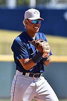 Infielder Milton Ramos (24) of the Columbia Fireflies during the team's first workout of the season on Sunday, April 2, 2017, at Spirit Communications Park in Columbia, South Carolina. (Tom Priddy/Four Seam Images)