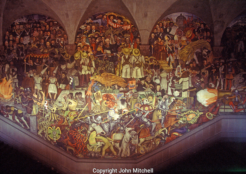 Diego Rivera mural depicting the history of Mexico in the Palacio Nacional or National Palace, Mexico City