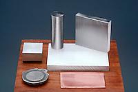 COMMON METALS<br /> Metal Elements<br /> Top Row, Left to Right: zinc (Zn), titanium (Ti), Iron (Fe). Bottom Row, Left to Right: nickel (Ni), Aluminum (Al), Copper (Cu)