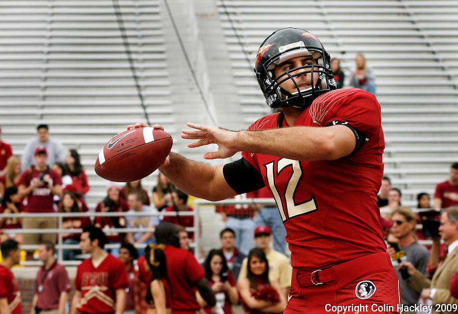 TALLAHASSEE, FL 11/21/09-FSU-MARY FB09 CH01-Florida State back up quarterback Andrew Nowles warms up prior to the Maryland game, Saturday at Doak Campbell Stadium in Tallahassee. .COLIN HACKLEY PHOTO
