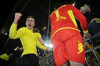 FUSSBALL   1. BUNDESLIGA   SAISON 2011/2012    14. SPIELTAG Borussia Dortmund - FC Schalke 04      26.11.2011 Mario GOETZE (Dortmund) jubelt auf dem Zaun vor der Suedtribuene