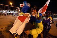 Japanese fans celebrate Japan's victory against Denmark outside the Royal Bafokeng Stadium during 2010 World Cup first round match in Rustenberg, South Africa on Thursday, June 24, 2010.