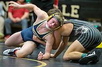 NWA Democrat-Gazette/JASON IVESTER<br /> Bentonville West's Stephen Fox wrestles against Bentonville's Obi Smith on Thursday, Jan. 26, 2017, at Bentonville High School.