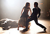 Carmen Disruption <br /> at Almeida Theatre, London, Great Britain <br /> press photocall<br /> 16th April 2015 <br /> <br /> Viktoria Vizin as The Chorus <br /> John Light as Escamillo <br /> <br /> <br /> <br /> Photograph by Elliott Franks <br /> Image licensed to Elliott Franks Photography Services