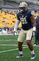 Pitt defensive lineman Darryl Render. The North Carolina Tar Heels defeated the Pitt Panthers 34-27 at Heinz Field, Pittsburgh Pennsylvania on November 16, 2013.