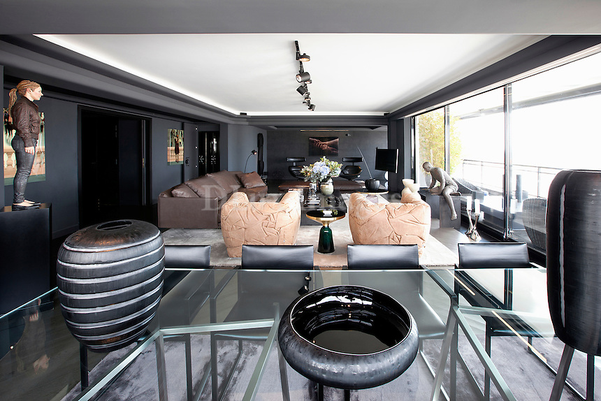 Contemporary living room with artworks