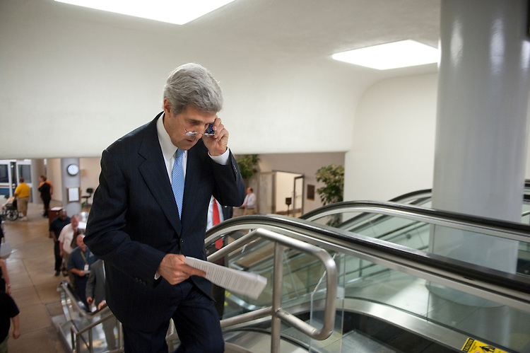 UNITED STATES - August 2: John Kerry, D-MASS.,  enters the U.S. Capitol from the Senate subway on August 2, 2011. (Photo By Douglas Graham/Roll Call)