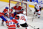 17 October 2009: Montreal Canadiens goaltender Carey Price keeps his eye on the action in front of his crease in the third period against the Ottawa Senators at the Bell Centre in Montreal, Quebec, Canada. The Senators defeated the Canadiens 3-1. Mandatory Credit: Ed Wolfstein Photo