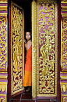 A young buddhist novice at the door to his temple in Sainyabuli Province, Laos.