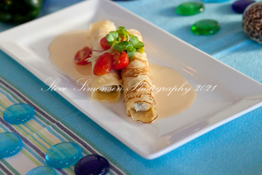 Crab, Roasted Poblano and Ricotta Crêpes: lobster butter, grape ...