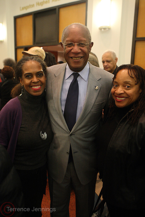 6 January 2011- Harlem, New York- l to r: Malika Adero, Howard Dodson, Dr. Deb Willisat the Opening for The State of African American and African Diaspora Studies Conference held at the The Schomburg Center for Research in Black Culture on January 6, 2011 in the Village of Harlem. Photo Credit Terrence Jennings
