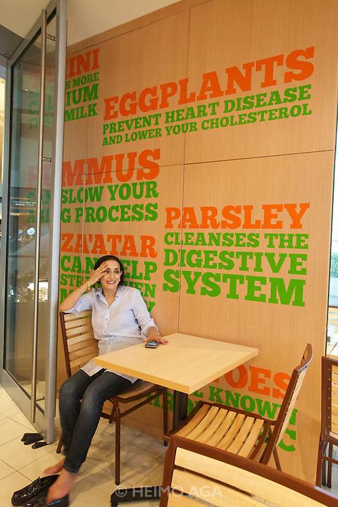Singapore. Marina Bay Sands. Israeli-Indian celebrity chef Reena Pushkarna at her Pita Pan restaurant.