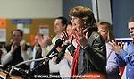 United States Senator Lisa Miurkowski (R) Alaska, center, addresses a joyous crowd as her victorious write-in campaign is announced in Anchorage, Alaska  Wednesday, Nov. 17, 2010.  Murkowski defeated primary winner Republican Joe Miller.  (AP Photo/Michael Dinneen)