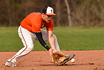 PLYMOUTH, CT-042017JS02 Terryville's Shawn Fulton (2) fields a ground ball  during their game against Watertown Thursday at Terryville High School in Plymouth. <br /> Jim Shannon Republican-American