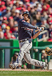 6 April 2014: Atlanta Braves shortstop Andrelton Simmons in action against the Washington Nationals at Nationals Park in Washington, DC. The Nationals defeated the Braves 2-1 to salvage the last game of their 3-game series. Mandatory Credit: Ed Wolfstein Photo *** RAW (NEF) Image File Available ***