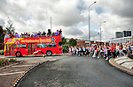 IPSWICH, ENGLAND - OCTOBER 10:  Open Top Bus parade followed by  dance  lovers in  Ipswitch on October 10, 2009 in Ipswich, England.  A mass dance  celebrates  the opening of The Jerwood Dance House an international dance  centre developed by Dance East  (Photo by Marco Secchi/Getty Images for DanceEast)