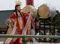 dancer in women in traditional kimono leaving Heian shrine in Kyoto, Japan