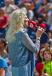 20 September 2015: Performing artist Judy Collins sings the Star Spangled Banner American National Anthem prior to a game between the Miami Marlins and the Washington Nationals at Nationals Park in Washington, DC. The Nationals defeated the Marlins 13-3 to take the final game of their 4-game series. Mandatory Credit: Ed Wolfstein Photo *** RAW (NEF) Image File Available ***