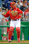 13 April 2008: Washington Nationals' catcher Paul Lo Duca in action against the Atlanta Braves at Nationals Park, in Washington, DC. The Nationals ended their 9-game losing streak by defeating the Braves 5-4 in the last game of their 3-game series...Mandatory Photo Credit: Ed Wolfstein Photo