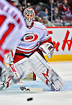 21 December 2008: Carolina Hurricanes' goaltender Cam Ward warms up prior to a game against the Montreal Canadiens at the Bell Centre in Montreal, Quebec, Canada. The Hurricanes defeated the Canadiens 3-2 in overtime. ***** Editorial Sales Only ***** Mandatory Photo Credit: Ed Wolfstein Photo