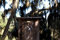LITTLE ST. SIMONS ISLAND, FL -- October 1, 2010 -- An outhouse is seen on Little St. Simons Island on Friday, October 1, 2010.   The 10,000 acres of marshland, beaches, and forests are a refuge for wildlife and vacationers alike with only 32 guests permitted a night.  (Chip Litherland for Bay Magazine)