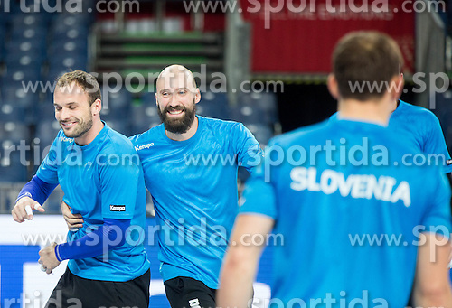 Uros Zorman of Slovenia and Vid Kavticnik of Slovenia during practice session of Team Slovenia on Day 1 of Men's EHF EURO 2016, on January 15, 2016 in Centennial Hall, Wroclaw, Poland. Photo by Vid Ponikvar / Sportida