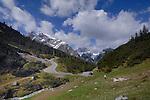 Winding road through the Hahntennjoch pass between Imst and Elmen. Imst district, Trrol,Tirol, Austria.
