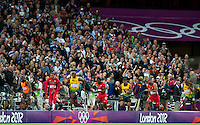 London, England - Sunday, August 5, 2012: Usain Bolt wins the 100 meters at the 2012 London Olympics.