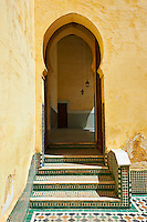 Interior courtyard of the Mauseleum of Moulay Ismaïl Ibn Sharif , reigned 1672–1727. A UNESCO World Heritage Site .Meknes, Meknes-Tafilalet, Morocco.