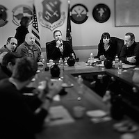 A meeting with base commander Joseph L. Prue (second from left facing camera) and the Danish Minister of Defence Nicolai Wammen (middle) at the Thule Air Base. Thule Air Base was established as an American military base in 1951 and is the US Air Force's northernmost base. During the cold War it employed over 10,000 people, mainly serving as a landing and refuelling strip for American bombers, lying halfway between the US and the Soviet Union's industrial heartland via the North Pole. Today, around 550 people work at the base with another 400 Danish and Greenlandic civilian staff.