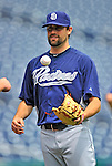 29 May 2011: San Diego Padres pitcher Pat Neshek warms up prior to a game against the Washington Nationals at Nationals Park in Washington, District of Columbia. The Padres defeated the Nationals 5-4 to take the rubber match of their 3-game series. Mandatory Credit: Ed Wolfstein Photo
