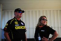 May 6, 2012; Commerce, GA, USA: NHRA crew member for top fuel dragster driver Morgan Lucas during the Southern Nationals at Atlanta Dragway. Mandatory Credit: Mark J. Rebilas-