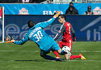 31 March 2011: Toronto FC midfielder Eric Avila #8 and Columbus Crew goalkeeper Andy Gruenebaum #30 in action during a game between the Columbus Crew and the Toronto FC at BMO Field in Toronto, Ontario Canada..The Columbus Crew won 1-0.