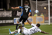 Sam Cronin (4) kicks the ball above Cristian Nazarit (29). The Chicago Fire defeated the San Jose Earthquakes after going 5-4 on penalty kicks, after a 2-2 score in regulation during the US Open Cup at Buck Shaw Stadium in Santa Clara, California on May 24th, 2011.