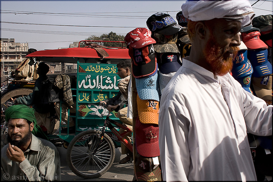 street bazaar scene in the old city of lahore