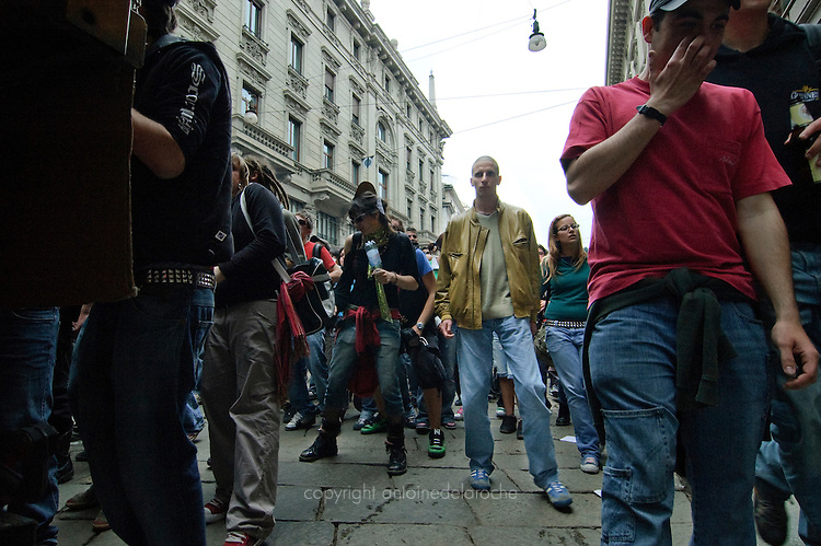 demonstration on may day, milano
