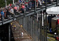 May 14, 2016; Commerce, GA, USA; NHRA fans walk beneath the main grandstands during qualifying for the Southern Nationals at Atlanta Dragway. Mandatory Credit: Mark J. Rebilas-USA TODAY Sports