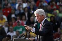 Former President Bill Clinton addresses students and area residents at Harding High School, Marion, Ohio, on Friday, Feb. 29, 2008. Clinton was campaigning alongside former U.S. Senator John Glenn (D-OH) for democratic presidential candidate Hillary Rodham Clinton. (Kevin Craiglow/PressPhotoIntl.com)