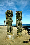 Hawaii: Big Island.  Place of Refuge Natl Park..Religious figures.  Photo #: hikona102..Photo copyright Lee Foster, www.fostertravel.com, 510/549-2202, lee@fostertravel.com