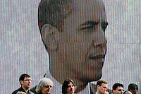 A head of the US President Barack Obama seen during his speach at a large video screen at Prague Castle in Prague, Czech Republic, 4 April 2009. President Barack Obama and his wife visited Prague (Czech Republic) during the Czech Presidency of the European Union in April 2009.