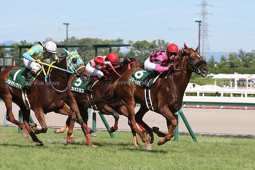 (R-L) Smart Orion ( Mirco Demuro), Chaosmos (Yuichi Fukunaga), Alma Divin (Yusuke Fujioka), JULY 26, 2015 - Horse Racing : Smart Orion ridden by Mirco Demuro wins the Toyota Sho Chukyo Kinen at Chukyo Racecourse in Aichi, Japan. (Photo by Eiichi Yamane/AFLO)