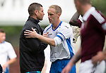 St Johnstone v Hearts...03.08.14  Steven Anderson Testimonial<br /> Steven Anderson gets a hug from Stevie Banks<br /> Picture by Graeme Hart.<br /> Copyright Perthshire Picture Agency<br /> Tel: 01738 623350  Mobile: 07990 594431