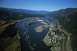 An Aerial view over the Bonneville Dam, which stradles the Columbia River Gorge between Oregon and Washington State USA