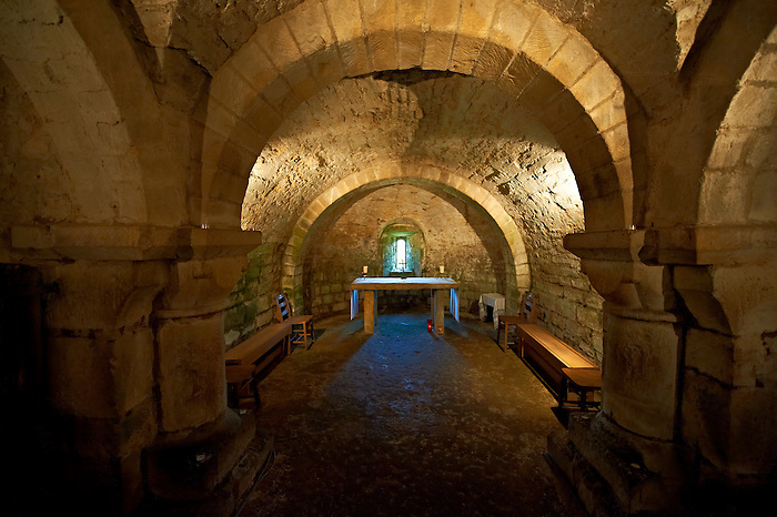The Norman romanesque crypt  of church of Lastingham church. The only Norman crypt with an aisle & 2 naives in England.  North Yorks National Park, North Yorkshire, England