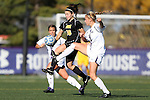 21 October 2012: Iowa's Anne Marie Thomas (16) and Northwestern's Niki Sebo (9). The Northwestern University Wildcats played the University of Iowa Hawkeyes at Lakeside Field in Evanston, Illinois in a 2012 NCAA Division I Women's Soccer game. Northwestern won the game 1-0.