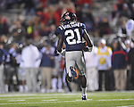 Ole Miss' Senquez Golson (21) intercepts a pass vs. Louisiana Tech in Oxford, Miss. on Saturday, November 12, 2011.