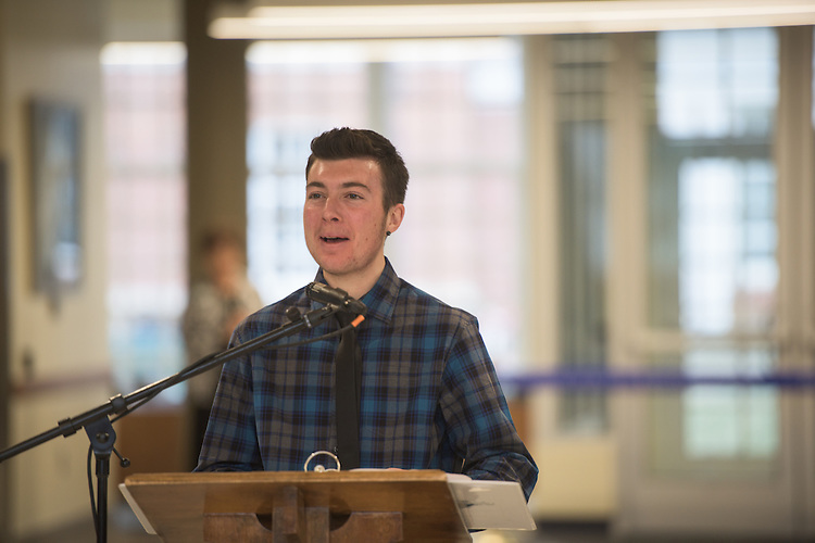 Graduate student, Marek Samblanet, addresses the ribbon cutting ceremony for the Gladys W. and David H. Patton College of Education's newly renovated McCracken Hall held on January 27, 2017.
