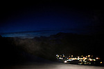 Snow swirls in the headlights of a snowcat on Mammoth Mountain, Calif., january 28, 2011.