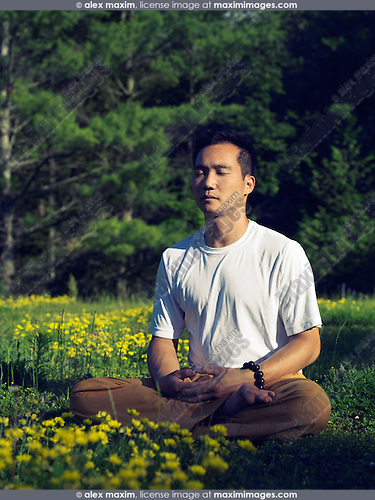 Artistic outdoor photo of an Asian man practising Chinese Buddhist meditation during sunrise in outdoor summer nature scenery. Instructor Shi Chang Dao, Toronto Shaolin Temple STQI.